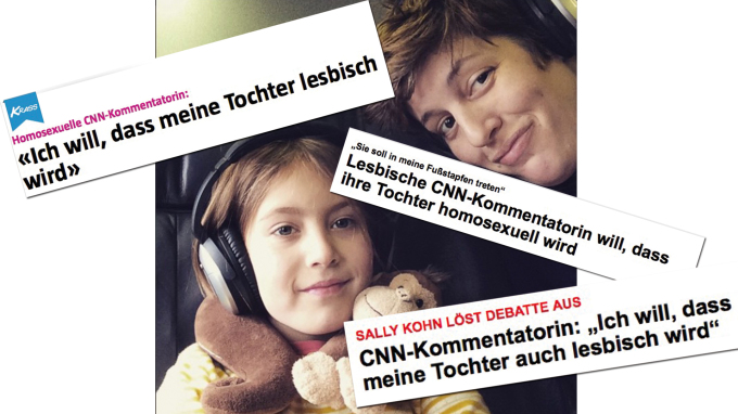 Überschriften aus der deutschen Presse zum Essay von Sally Kohn.