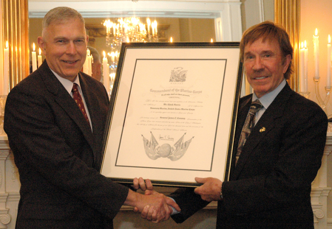 Chuck Norris made Honorary Marine