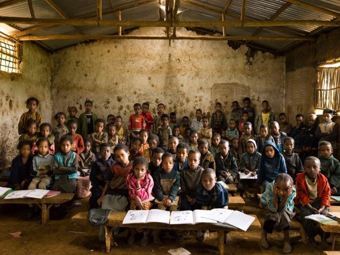 Gambela Elementary School, Gambela, Welisso District, Ethiopia. Grade 1, Music. October 9th, 2009. From the series Classroom Portraits 2004-2015 © Julian Germain